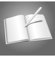 Blank white realistic opened book and pen writing vector image vector image