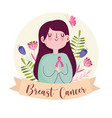 breast cancer cute woman with ribbon flowers vector image vector image