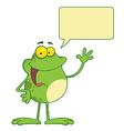 Cartoon frog waving vector image vector image