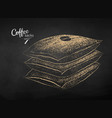 chalk drawn sketch of sacks with coffee beans vector image vector image