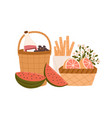composition picnic baskets with delicious meals vector image vector image