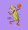 corn volleyball sport vegetable cartoon ill vector image vector image