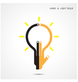 Creative light bulb and hand icon abstract vector image
