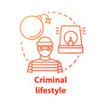 criminal lifestyle red concept icon committing vector image vector image