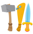 dagger hammer and baseball bat cartoon drawing vector image vector image