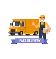 delivery van and worker vector image vector image