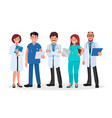 doctors team medical workers on a white vector image