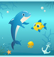 dolphin with fish and jellyfish on underwater vector image