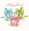 easter eggs isolated on white with bows green vector image