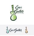 eco guitar logo design vector image vector image