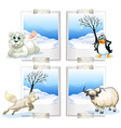 four kind arctic animals vector image