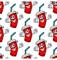 Funny cartoon takeaway soda seamless pattern vector image vector image