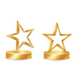 gold star award on blank trophy reward icon vector image