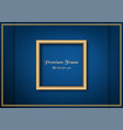 golden classic frame on blue gradient background vector image