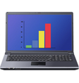 graph on laptop screen vector image vector image