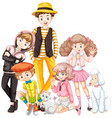 group of teenager and pet vector image vector image