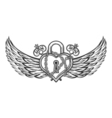 Heart Shaped Lock with Wings vector image