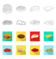 isolated object of burger and sandwich symbol vector image vector image