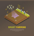 isometric smart farm background vector image vector image