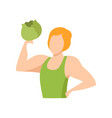 muscular man holding a cabbage healthy eating vector image vector image