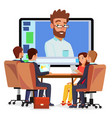 online video conference man and chat vector image vector image