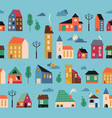 patten with small tiny houses trees vector image vector image
