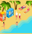 pensioners beach holiday isometric vector image
