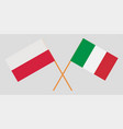 poland and italy crossed polish and italian flags vector image vector image