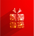 Red gift box made of polygonal and lights effect vector image vector image
