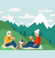 retired couple having picnic in mountains happy vector image