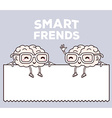 retro color smile smart friends with glas vector image vector image