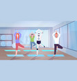 robot with people doing yoga exercises standing vector image vector image