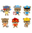 set funny bear with various profession vector image vector image