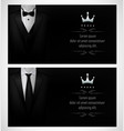 set of black tuxedo business card templates and vector image