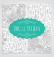 Set ofoodle patterns black and white vector image