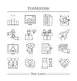 Teamwork Linear Icons Set vector image