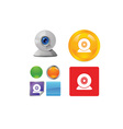 Technology and networking icon set vector image vector image