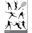 tennis silhouette set isolated vector image vector image