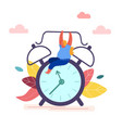 time management concept woman holding clock alarm vector image