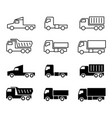 truck silhouette and line icons shipping cargo vector image