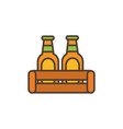 two beer bottles oktoberfest icon line filled vector image