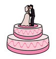 wedding cake couple dessert vector image vector image
