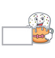 with board easter cake character cartoon vector image vector image