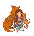 with girl and dogs and garlands vector image vector image