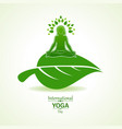 woman doing yogasan for international yoga day vector image vector image
