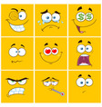 yellow cartoon square emoticons collection -1 vector image vector image