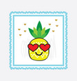 yellow pineapple emoji face with red heart glasses vector image vector image