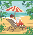 young man reads newspaper on tropical beach vector image