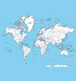 highly detailed political world map with capitals vector image