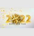 2022 happy new year background with golden vector image vector image